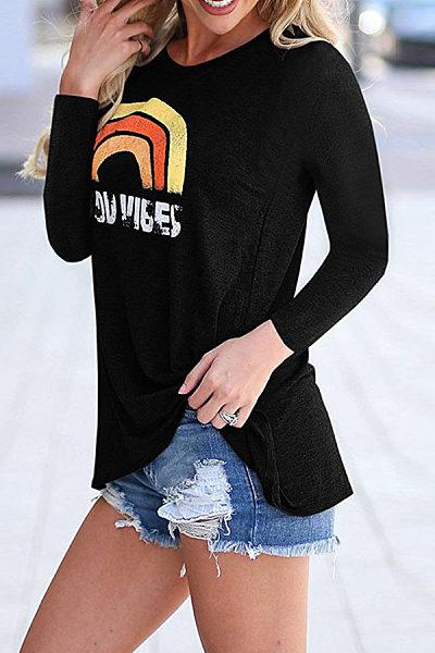 Fashion Round Neck Long Sleeve Printed T-Shirts