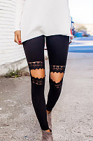 Decorative Lace  Plain Leggings