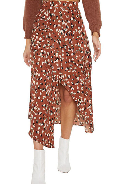 Slit  Printed  Basic Skirts