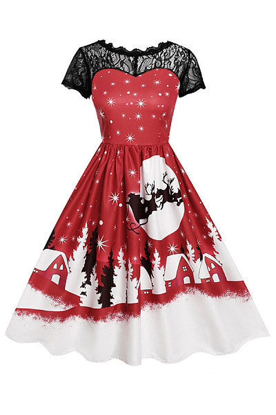 Christmas Printed Decorative Lace Party Dress