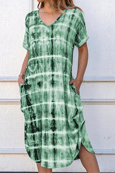 Short sleeve V-neck loose print dress