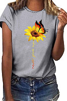 Casual Round Collar Butterfly Sun Flower Short Sleeve T-Shirt