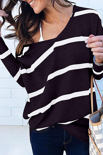 V Neck Long Sleeve Stripes Casual T-Shirts
