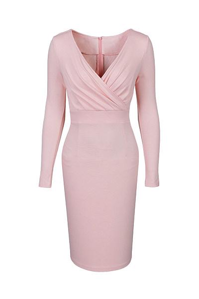 V-Neck Plain Slit Empire Bodycon Dress