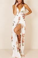 Spaghetti Strap  Backless High Slit  Floral  Sleeveless Maxi Dresses