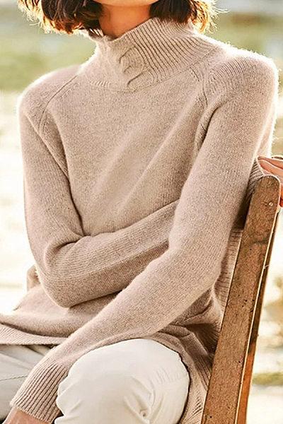 Short High Collar Plain Casual Sweater