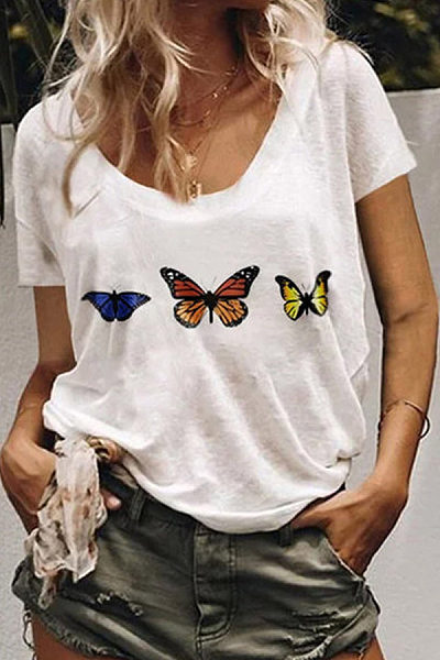 Women Butterfly Print Short Sleeve Casual Daily T-shirt