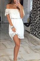 Off Shoulder  Flounce  Lace Plain  Short Sleeve Casual Dresses