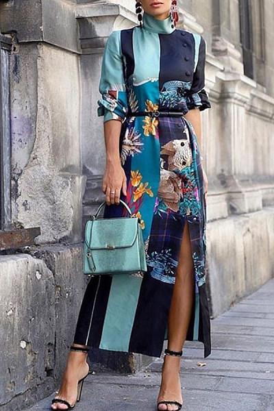 Band Collar  Printed Maxi Dresses