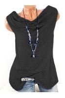 Summer  Cotton  Women  Cowl Neck  Plain Sleeveless T-Shirts