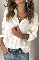 A Lapel Long Sleeve Plain Blouse