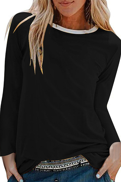 Brief Pure Colour Long Sleeve Round Neck T-Shirt