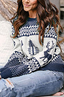 Christmas  Round Neck  Print Sweaters