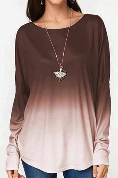 Round Neck Long Sleeve Gradient T-shirt