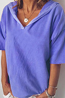 Summer Short-Sleeved Women's Top V-Neck Loose Hooded T-Shirt