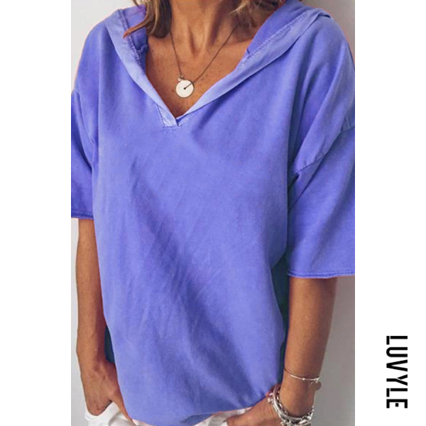 Blue Summer Short-Sleeved Women's Top V-Neck Loose Hooded T-Shirt Blue Summer Short-Sleeved Women's Top V-Neck Loose Hooded T-Shirt