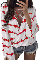 V Neck  Lace Up  Printed Shirts