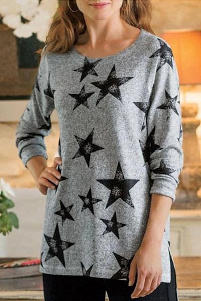 Round Neck Long Sleeve Star T-Shirt