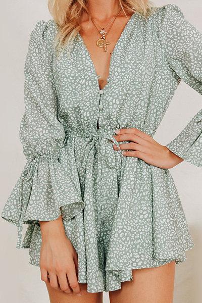 Sexy V-Neck Waist Print Irregular Dress
