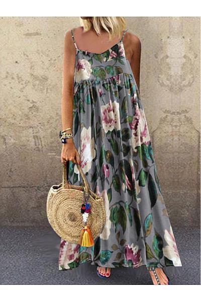 Spaghetti Strap  Floral Printed Maxi Dress