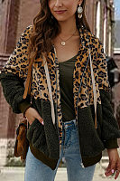 Hat Collar Leopard Casual Outerwear
