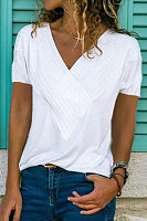 Casual V-neck Solid Color Short Sleeve T-Shirt