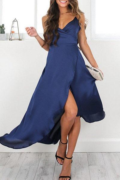 Spaghetti Strap  Side Slit Maxi Dresses