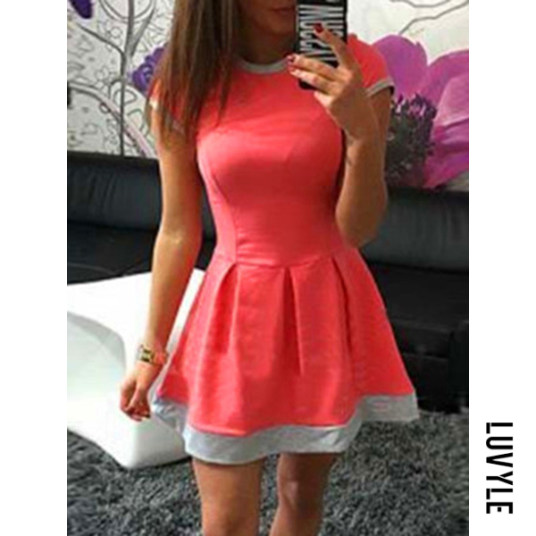 Orange Round Neck Inverted Pleat Color Block Mini Skater Dress Orange Round Neck Inverted Pleat Color Block Mini Skater Dress