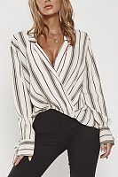 Surplice  Asymmetric Hem  Striped  Blouses
