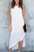 Crew Neck  Asymmetric Hem  Plain  Sleeveless Maxi Dresses