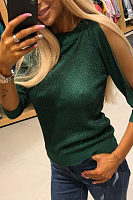 Round Neck  See Through  Glitter  Plain  Blouses