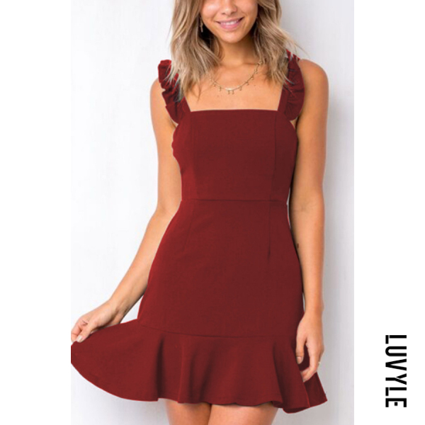 Claret Red Spaghetti Strap Asymmetric Hem Plain Sleeveless Casual Dresses Claret Red Spaghetti Strap Asymmetric Hem Plain Sleeveless Casual Dresses