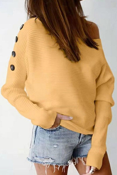 Womens Casual Solid Colour Off-shoulder Sweater