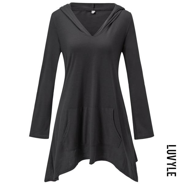 Black Hooded Kangaroo Pocket Plain Long Sleeve T-Shirt Black Hooded Kangaroo Pocket Plain Long Sleeve T-Shirt