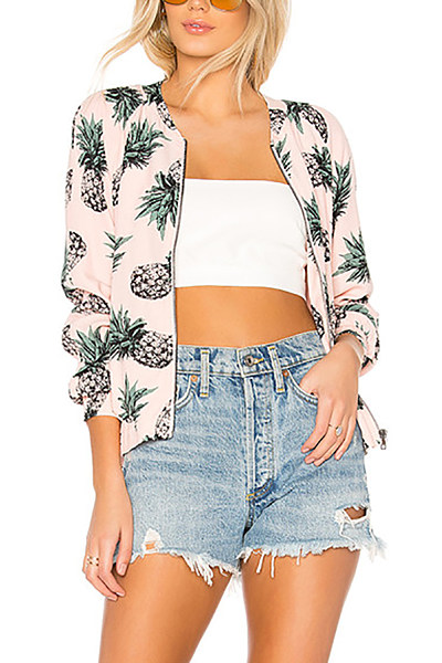 Band Collar  Print  Basic Jackets