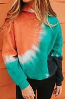 Color Block Tie-dye Hoody