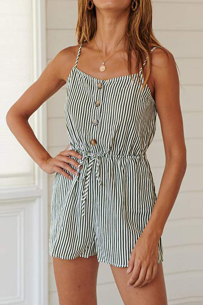 Spaghetti Strap  Decorative Buttons  Striped  Sleeveless  Playsuits