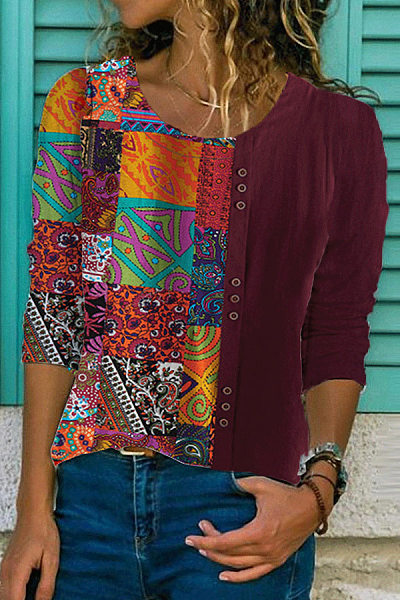 Round Neck Long Sleeve Stitching Printed Casual Shirt