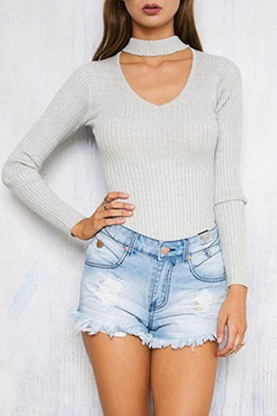 V Neck Choker Sweaters