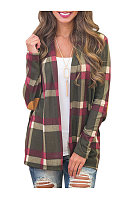 Plaid Longline Collarless Decorative Patch Cardigan