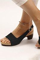 Plain  Chunky  Mid Heeled  Peep Toe  Casual Travel Sandals