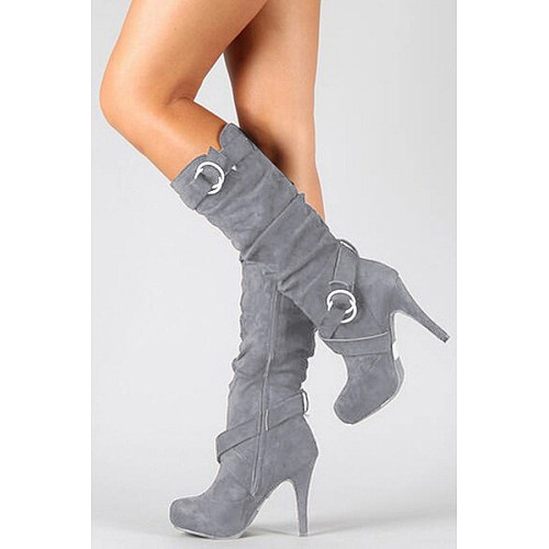 Plain Round Toe Casual High Heels Boots