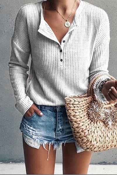 Jewel Neck Long Sleeve Pure Color T-Shirt