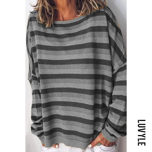 Gray Round Neck Striped Casual Hoodies Gray Round Neck Striped Casual Hoodies