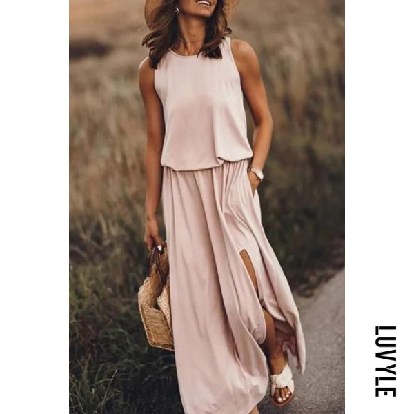 Holiday Print Sleeveless Split Dress