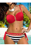 Spaghetti Strap  Contrast Trim  Plain Striped Bikini