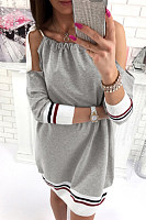 Open Shoulder  Loose Fitting  Plain  Sleeveless Casual Dresses