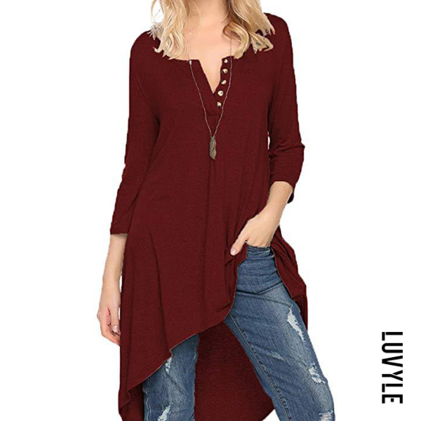 Autumn Spring Cotton Women V-Neck Asymmetric Hem Decorative Button Plain Long Sleeve T-Shirts
