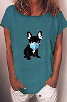 Cartoon Dog Mask Printed T-shirt