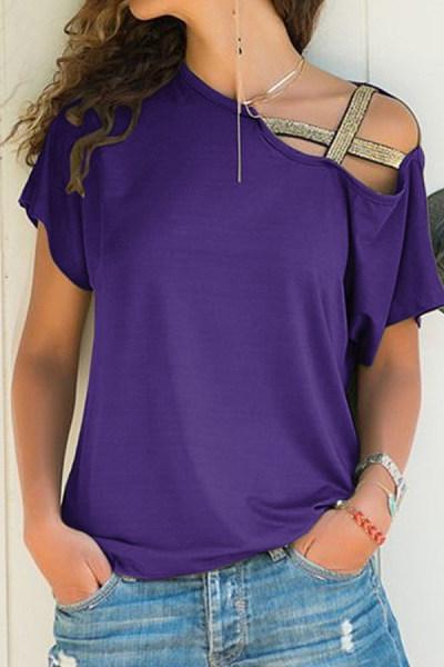 Asymmetric Neck  Casual  Plain T-Shirts